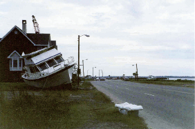 The peninsula didn't escape the wrath of Hugo. Wind gusts at the Custom House were clocked at 108 mph, and nearly 11 feet of tidal surge washed through the area. The results included felled trees and power lines; damage to roofs and buildings; and boats tossed inland, such as this motor cruiser on Lockwood Boulevard