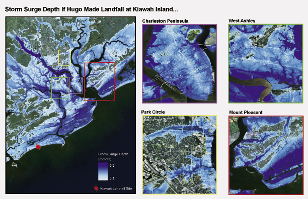 A NOAA inundation map shows what the storm surge over the peninsula and surrounding communities would have been—up to four feet higher in some areas—if Hugo had made landfall 20 miles south at Kiawah Island.