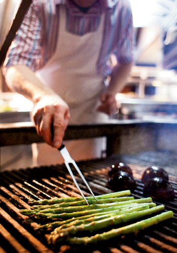 Asparagus only needs a minute or two on the grill.