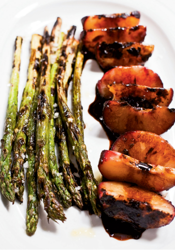 Grill Master: Plums—all the more sweeter when grilled—counter the earthy asparagus and sharp balsamic vinegar drizzled over the dish. Prefer a traditional meal with an appetizer? Serve this as an opener.