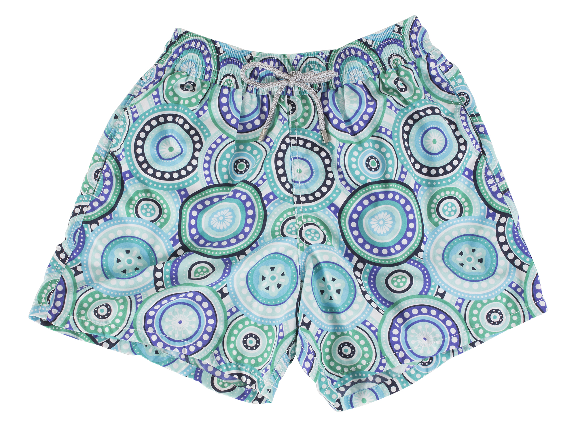 "Vilbrequin green ""Moorea Circles"" swim trunks, $220 at Gwynn's of Mount Pleasant"