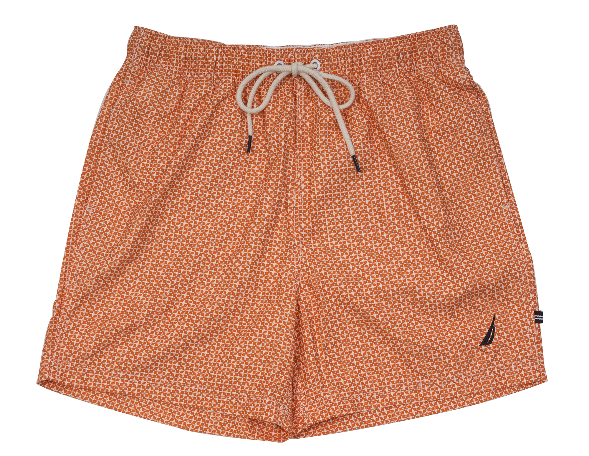 "Nautica ""Quick Dry Geo Print"" swim trunks in ""fireside,"" $60 at Belk Men's Store, Mount Pleasant Towne Centre"