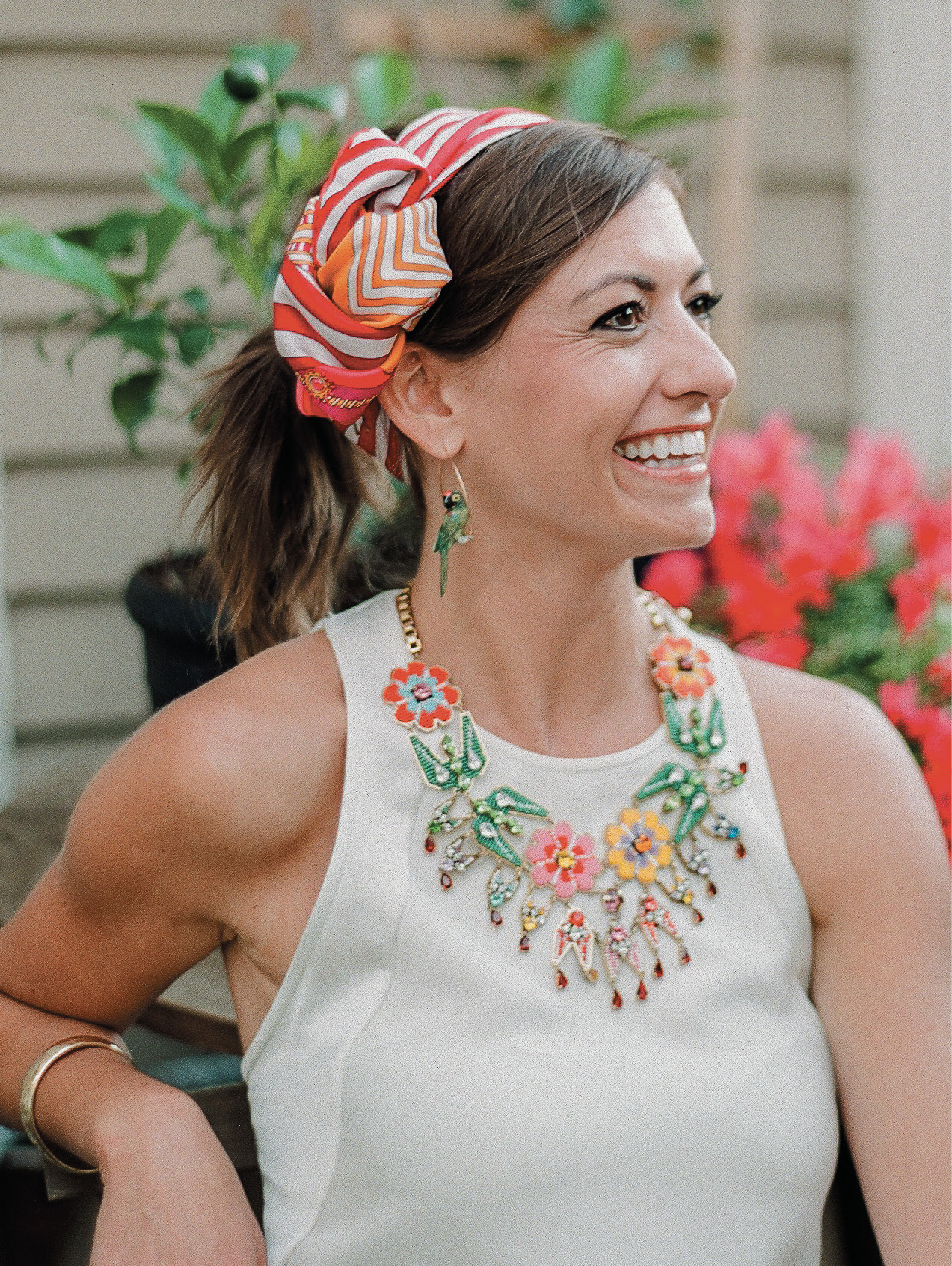 Guests were asked to wear all white with colorful accessories; check out Tenny Morrison's fun ensemble.