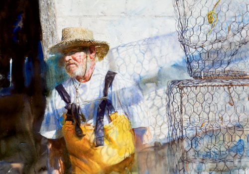 "Trap, a portrait of third-generation crabber Algernon ""Algie"" Varn in Pin Point, Georgia, who recently had to give up his business on Moon River (watercolor on paper, 21 3/4 by 19 1/4 inches, 2008)"