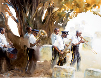 For Pilgrimage, Whyte hired a funeral band in Overton, Florida, to perform at a cemetery (watercolor on paper, 39 by 48 inches, 2009). Opposite page: Hull, wooden boat builder, Bayou La Batre, Alabama, watercolor on paper, 37 by 29 inches, 2008