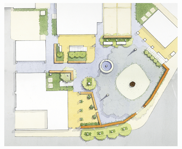 Mixsoning It Up: In this design for North Charleston's Mixson neighborhood, Lindsey unites multi-family and single-family dwellings with an Old World-inspired stone and formed concrete courtyard that was planned around an existing grand oak.