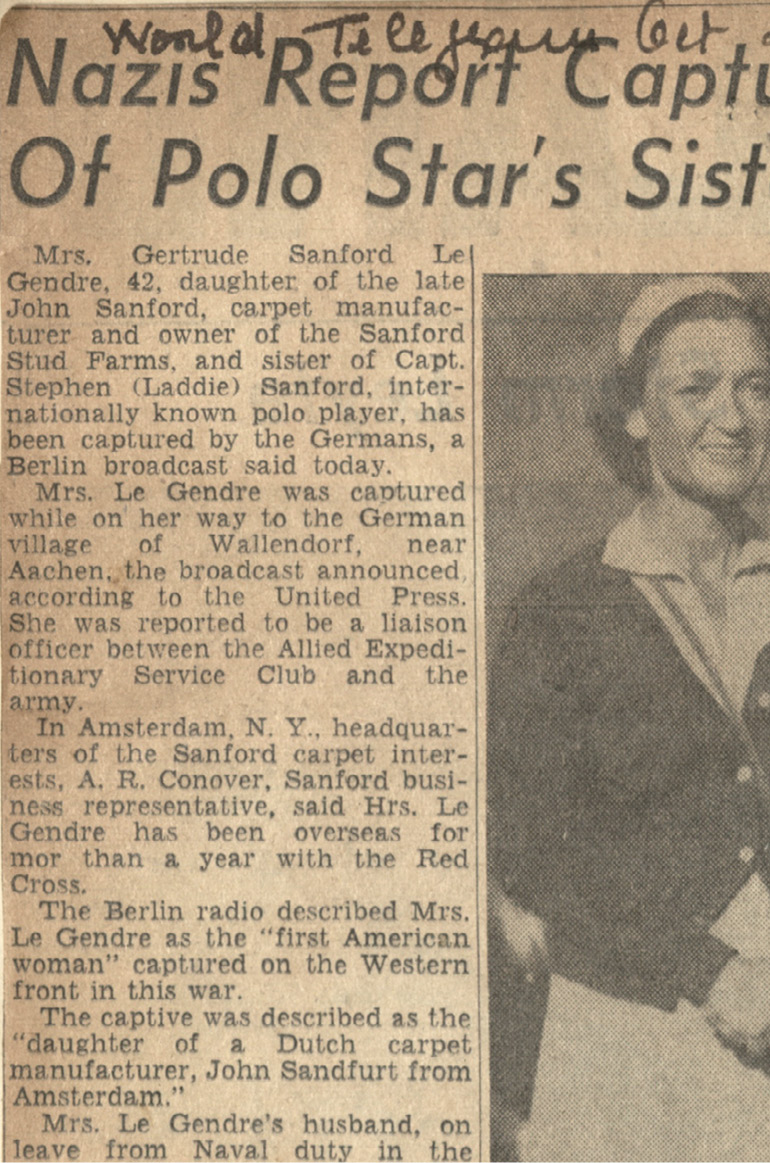 Newspaper headlines announce Gertrude's capture by the Nazis.