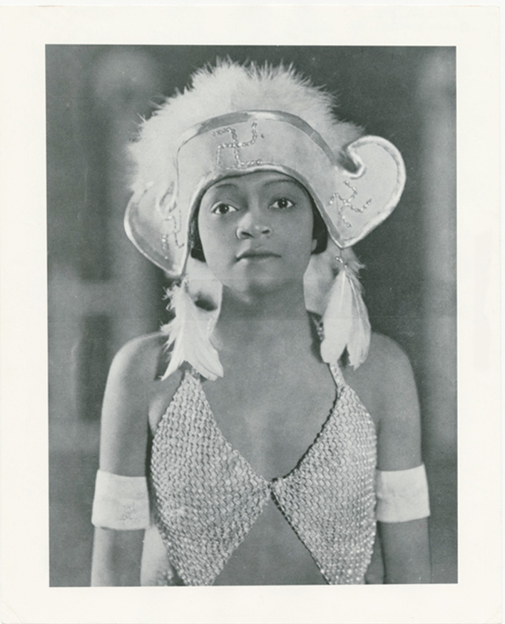 "In Jenkins's notes for ""The Charleston Revue"" sequence of Afram ou La Belle Swita, he envisioned a cabaret singer and dancer in the style of Florence Mills, pictured here in costume for the stage production Blackbirds in 1926."