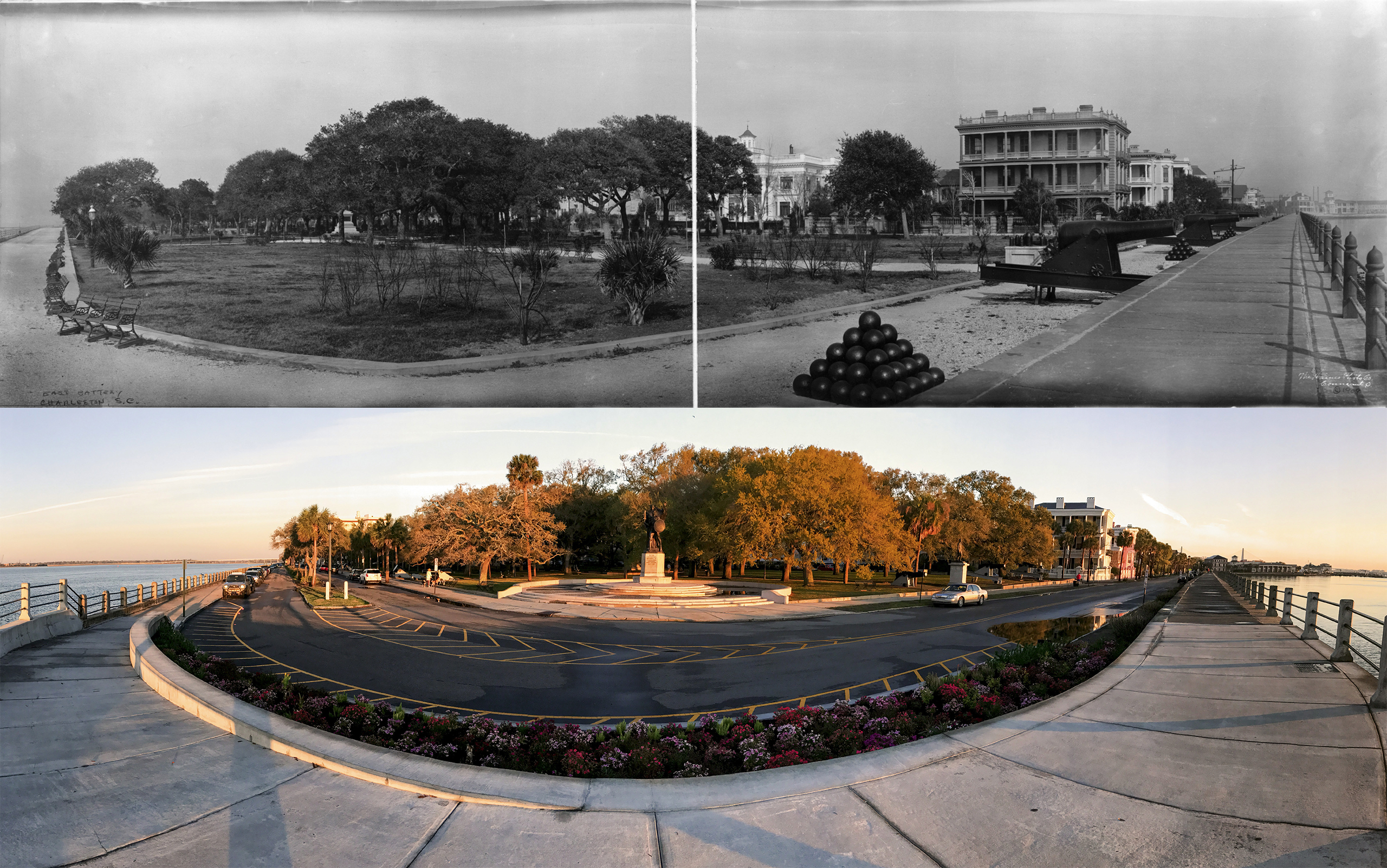 THE BATTERY: The trees in White Point Garden, which was planned by the city in 1837 as a public park, are taller now than in 1909 and block the view of the Villa Margherita on South Battery, which then still had a cupola. There are more monuments, most noticeably the colossal bronze statue dedicated to the Confederate Defenders of Charleston in 1932. The multi-piazza mansion built by Louis DeSaussure in 1858 still commands the waterfront; the heavy guns left from the Civil War-era Battery Ramsay remain peacefully at rest.
