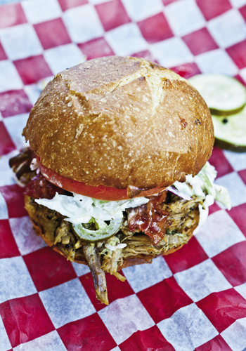 beer-braised pulled pork sandwiches are the dish du jour