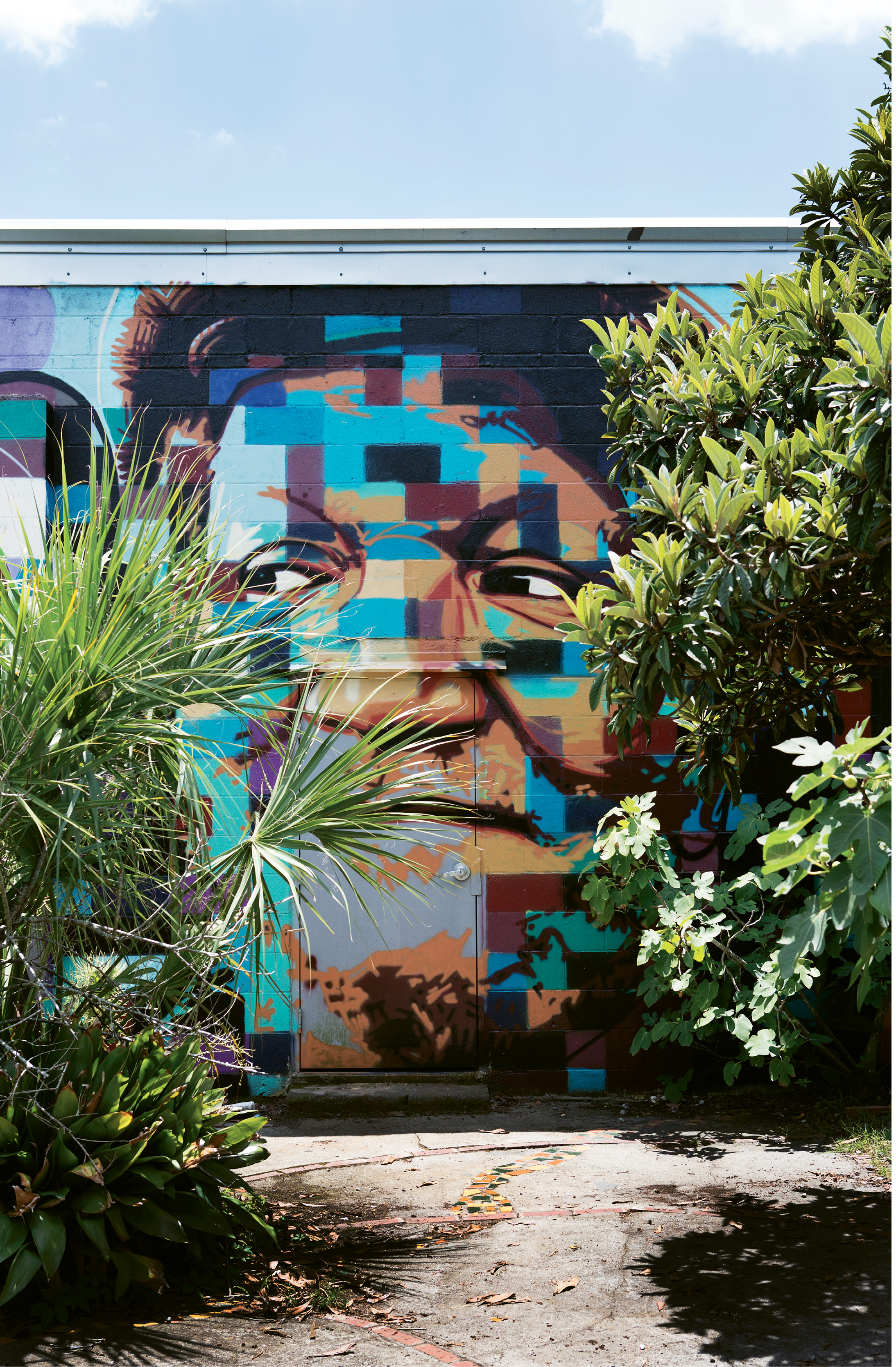 Redd Foxx (OPPOSITE)  By Sean Williams  Fall 2015  4845 Chateau ave.  The local artist, muralist, and metalsmith painted this homage to the comedian and star of the 1970s sitcom Sanford and Son on the studio he shares with Patch Whiskey.