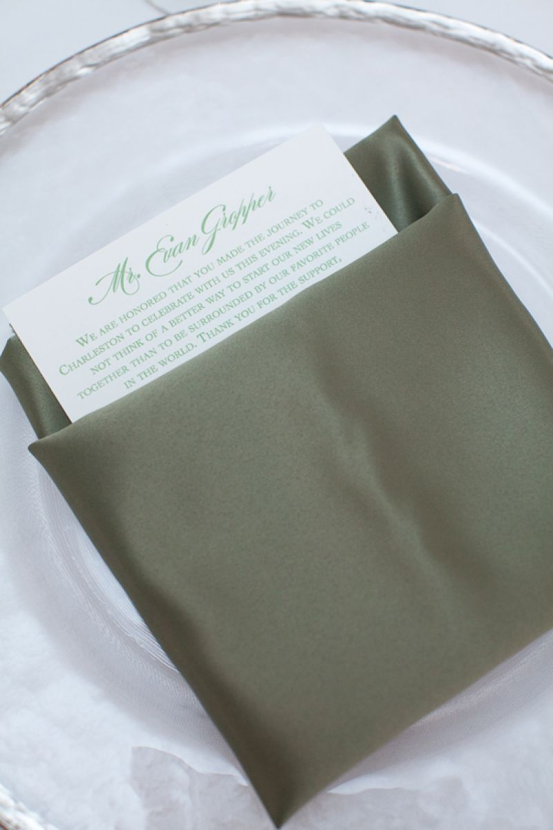 SPECIAL THANKS: Red Letter Events tucked appreciative welcome cards from the couple into each napkin.
