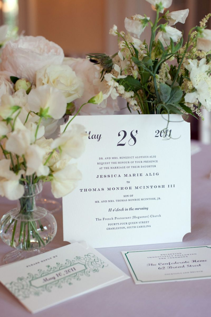 A SUITE SET: A friend of the bride, Ashley McGrath of Quarter Century Creative in New York City, hand-fashioned the couple's stationery. The mix of calligraphy and print lettering and the combination of off-white, black, and grassy green gave guests a first glimpse at the wedding's palette.