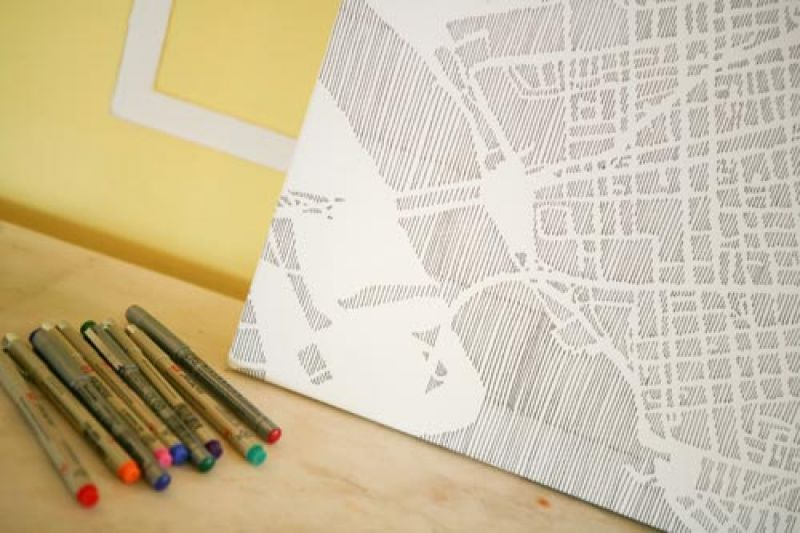 "SIGN ME UP: A pen and ink drawing of downtown Charleston served as the sign-in ""book"" for guests, who wrote well wishes in colored pens."