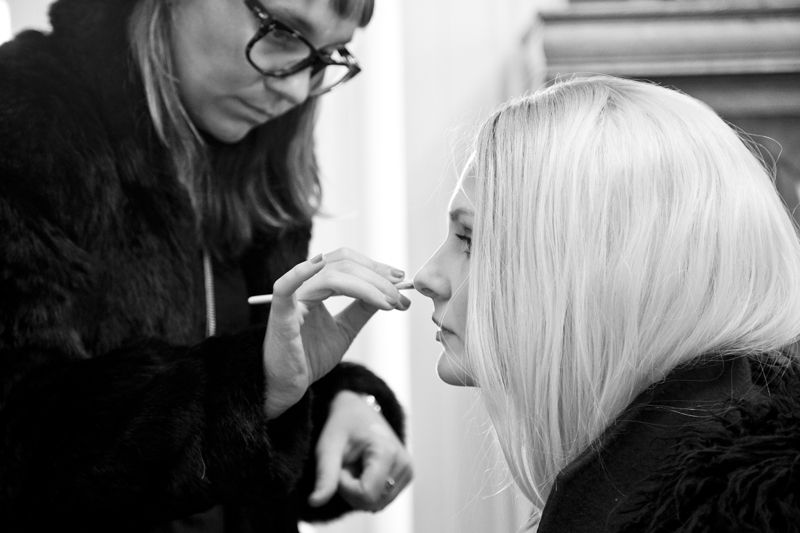First step: makeup by Cheyenne for ArtMix Beauty NY, using Chanel; photo by Mac Kilduff
