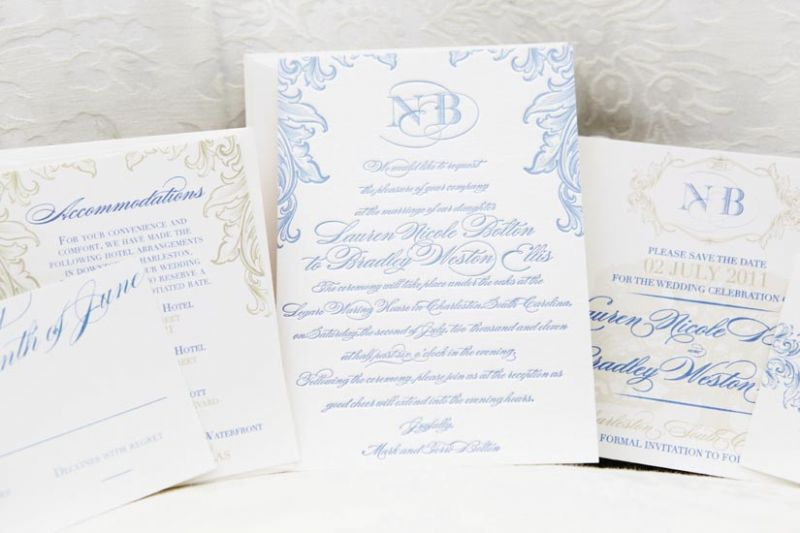 TO THE LETTER: The couple's monogram was printed in blue and embellished with khaki flourishes on this stationery suite from Scotti Cline Designs.