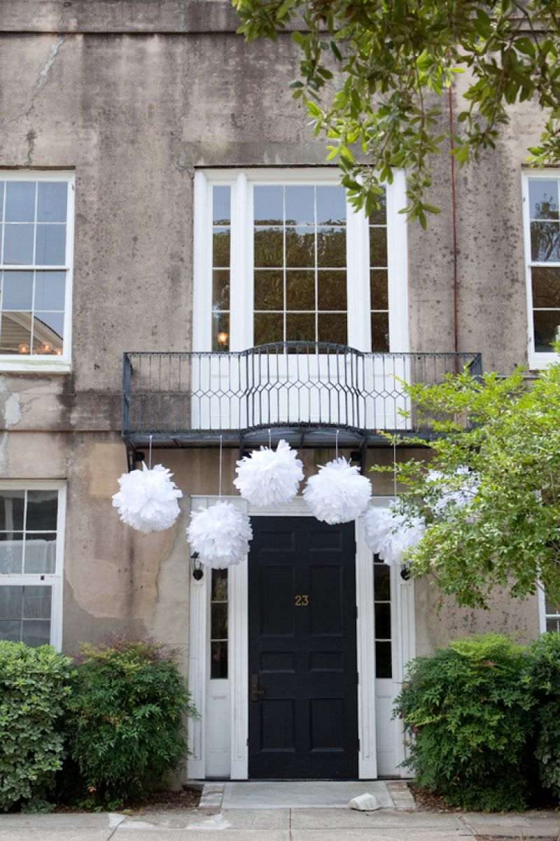 "GRAND ENTRANCE: ""They were simple, but had a big impact,"" Jessica says of the large puffs of white tissue that Kristin Newman created. ""I loved them!"""