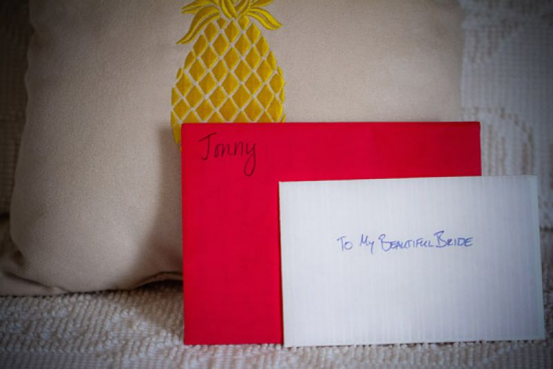 NOTE FOR NOTE: Carrie and Jonny wrote notes for each other to read before the wedding.