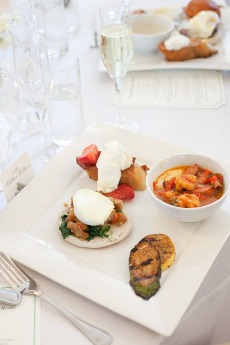 NOON-FIT NOSH: Guests enjoyed a brunch buffet from Cru Catering. Offerings included maple and brown sugar-glazed ham, eggs benedict, and Lowcountry shrimp and grits (the bride's favorite).