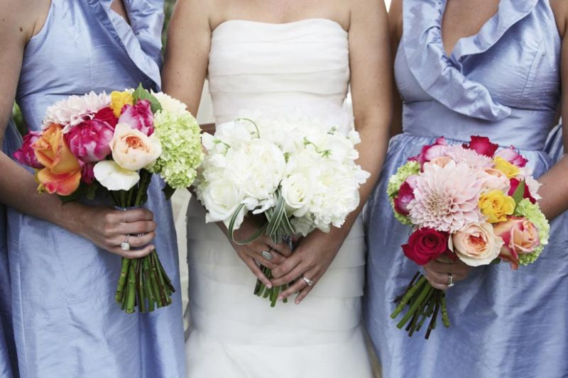 BLUE COLLAR: LulaKate bridesmaids dresses in cornflower blue anchored the event's palette.