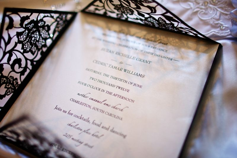 HISTORICAL TOUCH: The invitations resembled cast iron gates setting the tone for the couple's historic, elegant nuptials.