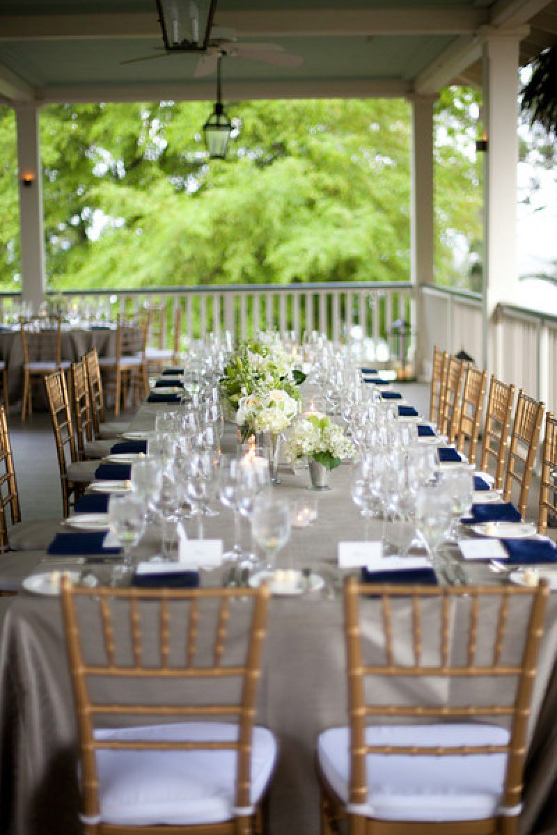 LET'S EAT: King tables were arranged around the River House's plantation porch.
