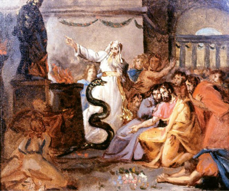 "1936: Victor donated the Washington Allston paintings Moses and the Serpent (pictured) and David Playing Before Saul to Carolina Art Association and Gibbes Art Gallery. He also presented a self-portrait of James DeVeaux, ""a native artist,"" and a miniature of Mrs. Samuel Wilson (née Paul) by Thomas S. Officer."