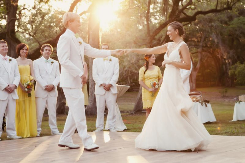 FIRST (MATE) DANCE: Naturals on the water, the bride and groom proved this to be equally true on the dance floor enjoying a first dance as the sunset gleamed through the trees.