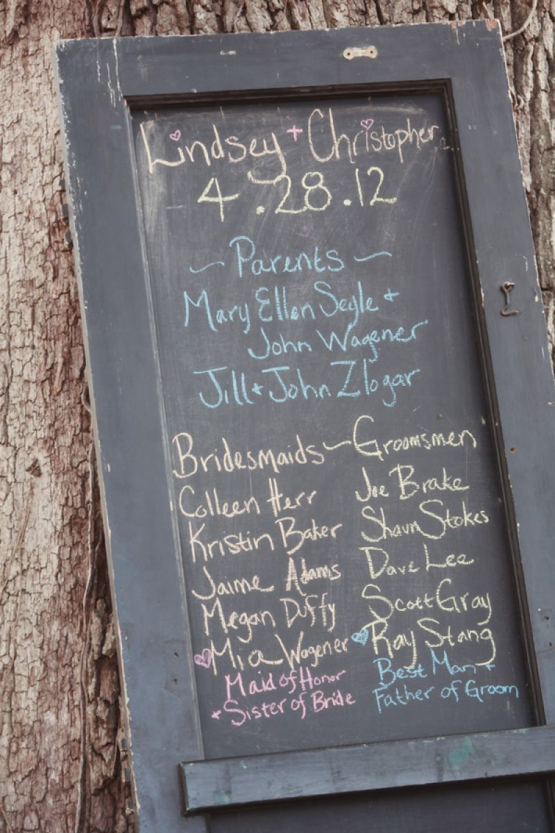 CHALK ART: Blue Planet Green Events repurposed an old shutter as chalkboard signage for the ceremony.