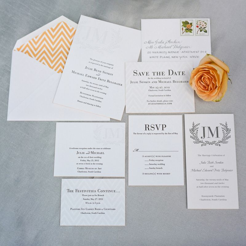 "DETAILS MAKE IT: ""The tonal stationery suite by Dauphine Letterpress was the first thing I fell in love with when planning our wedding"