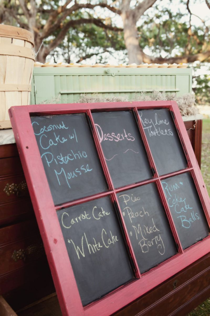 WINDOW DISPLAY: Blue Planet Green Events designed a chalkboard sign out of an old wooden window to highlight the decadent desserts.