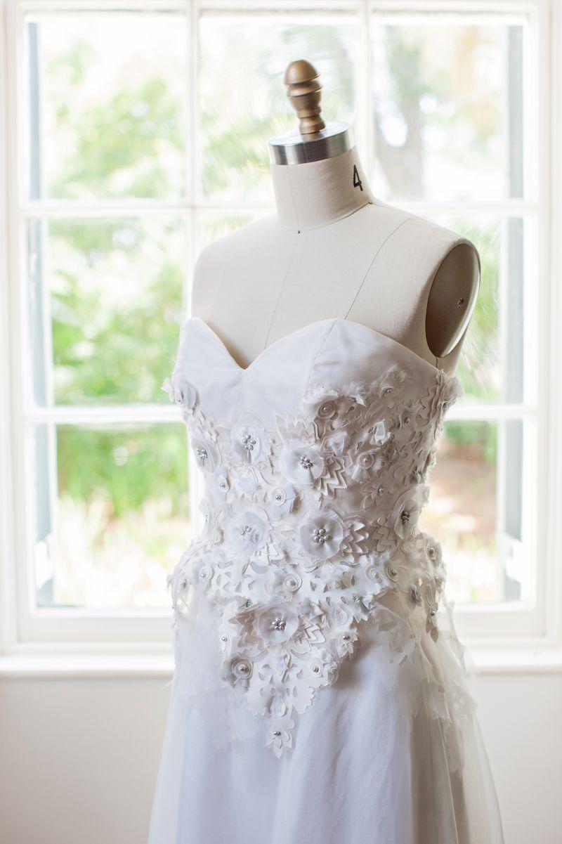 The corset's cutouts and appliqués gave Hayden plenty of design inspiration.