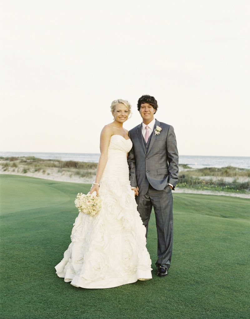 BEST DRESSED: Crystal chose an Amsale Blue Label gown from White on Daniel Island. Matt wore a suit from Express.