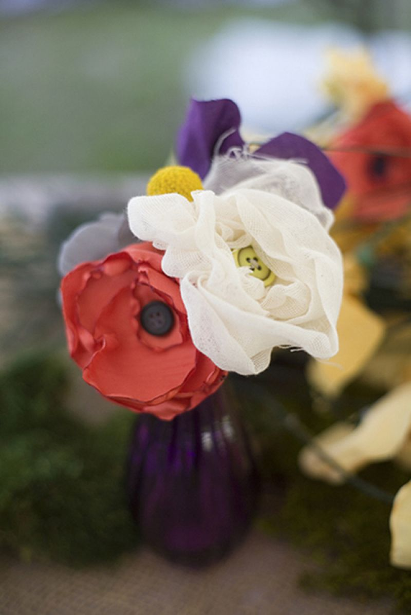 FAUX FLORA: Tiffany and her mother handcrafted 200 fabric flowers, saving money and adding a artsy touch.