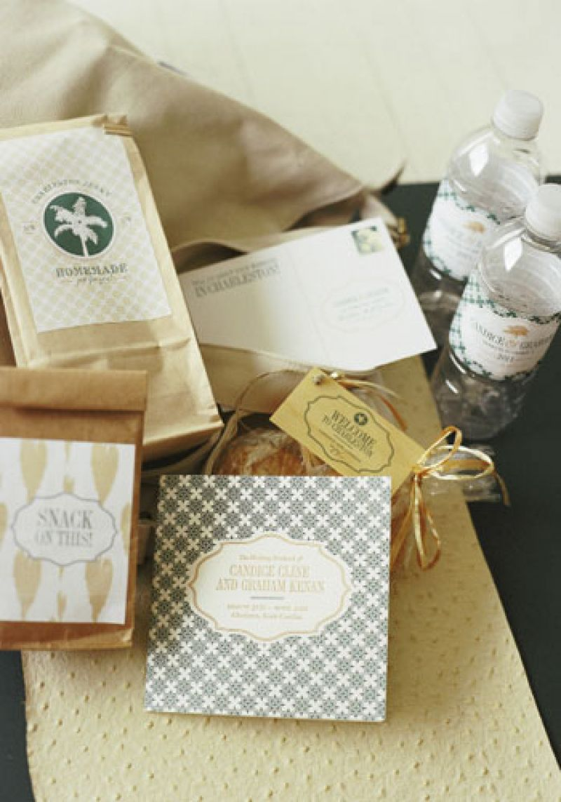 Snack on This:  Guests were welcomed with treats that included bags of hand-roasted nuts and local sweets sporting labels designed by The Lettered Olive in colors and patterns from the wedding's invitation suite.