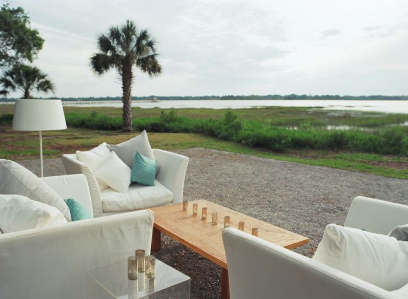 "A STRAIGHT SHOT: Guests enjoyed a clear view of the Ashley River. Of Lowndes Grove Sara says, ""It had a very Charleston feel, and we wanted our guests to feel like they were on vacation."""
