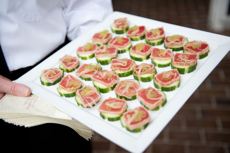 COME RAIN OR SHINE: The Inn at Palmetto Bluff offered hors d'eouvres during cocktail hour.