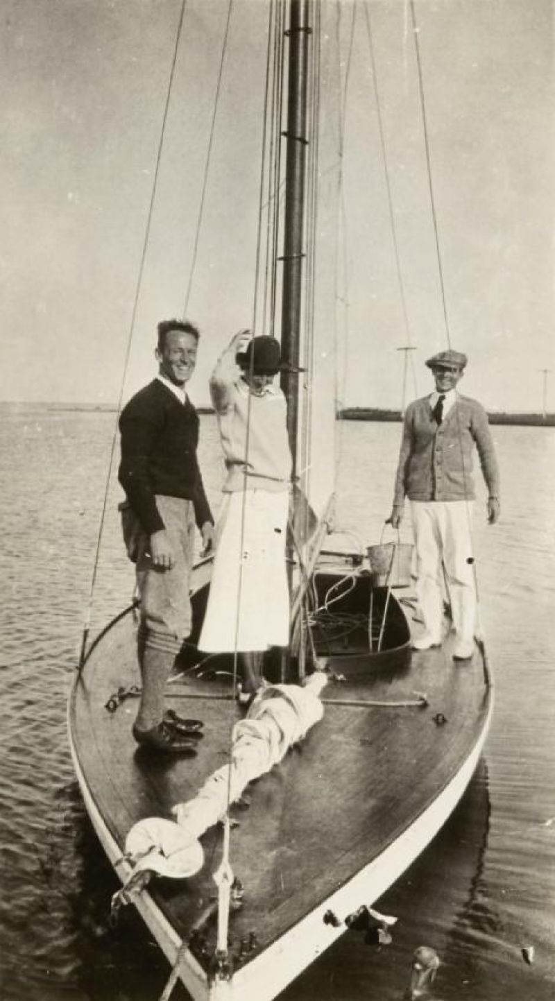 "Aboard ""Miladi"" on Great South Bay in 1916. Belle went on to become the first woman to win a major race there."
