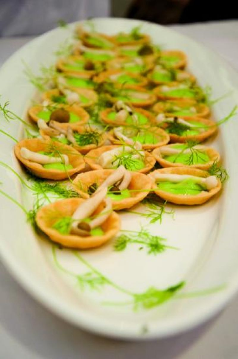 Fava bean tartlet and pickled beech mushrooms mulled in salt and truffle oil from Oak