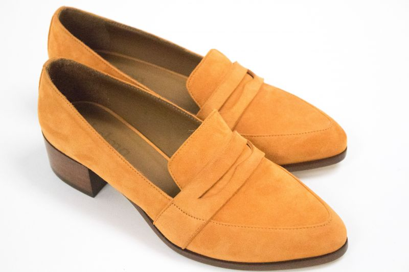 "Thelma penny loafer in ""tangelo,"" $388 at Shoes on King"
