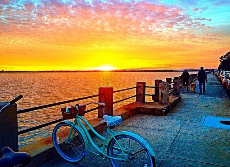 "HONORABLE MENTION Amateur category: Battery Sunset by Emily Deal; ""I took this photograph (with my iPhone) on January 29, 2015 at the Battery around 5:45 p.m. My roommate and I stopped our bike ride to admire the beautiful sunset. We enjoy taking bike rides to the Battery, even during cold weather, because Charleston's historic architecture never gets old! The Battery is the perfect setting to watch the sunset. You never see the same sunset twice, so I'm glad I captured this particular one."""