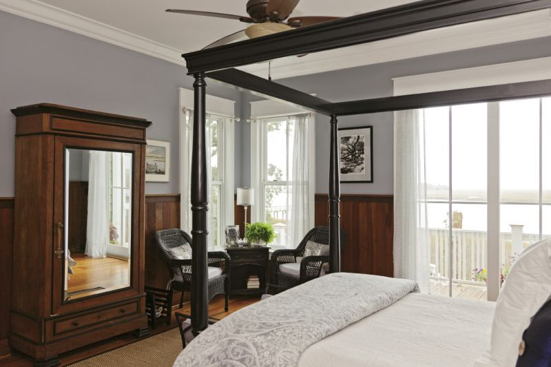The Barbers accented their bedroom with an heirloom armoire from Robert's mother