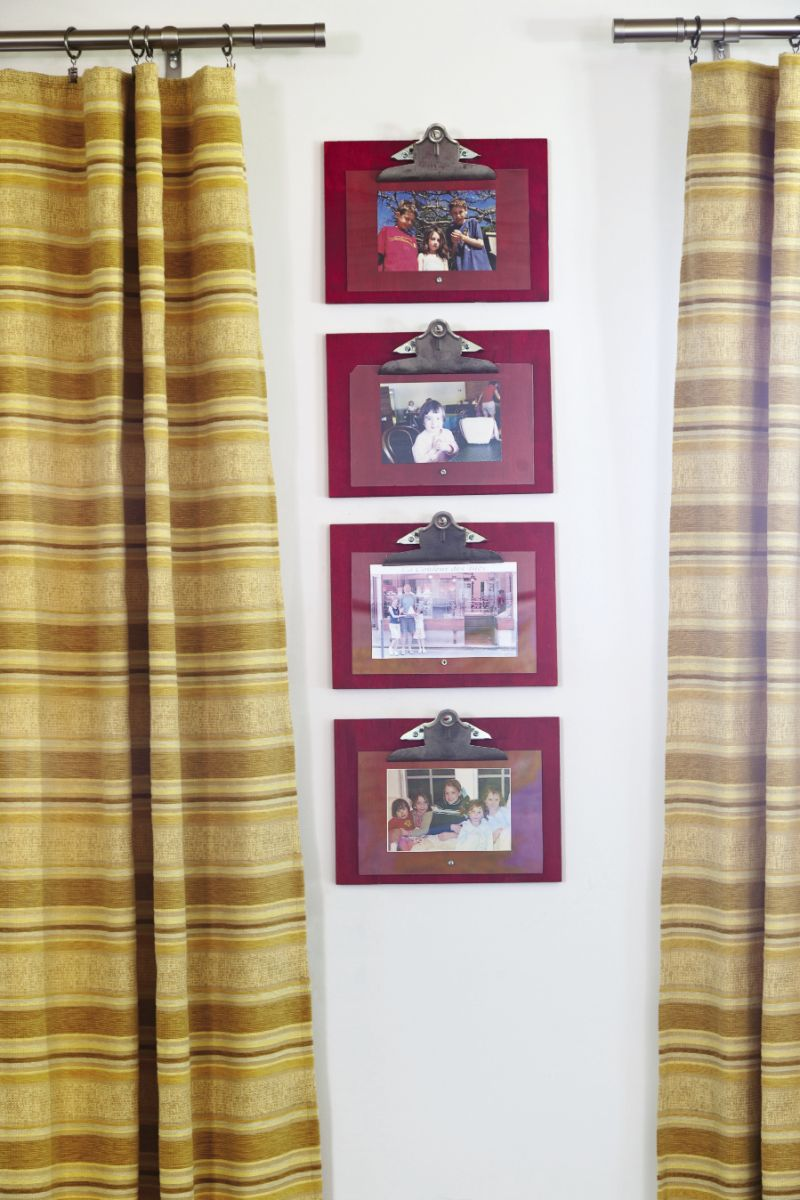 Mathis crafted these frames from plywood, plexiglass, and binder clips. Hung in a group, they elevate family photos into works of art.