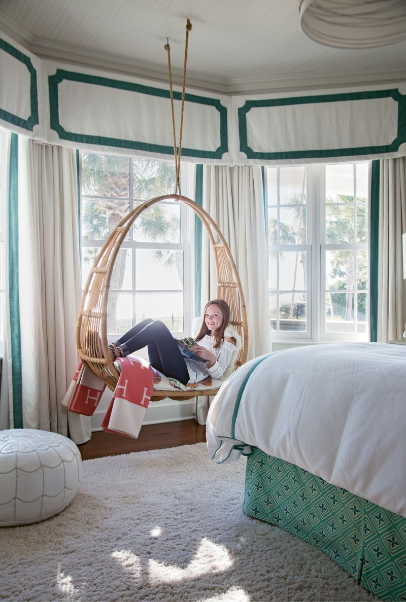 IN THE SWING: Alyssa's room features a favorite spot for lounging or doing homework.