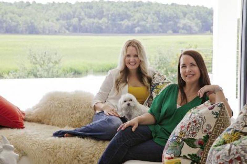 Conversation Peace: Interior designer Deidre Alexander (left) and homeowner Jennifer Feinman with her pooch, Chai.
