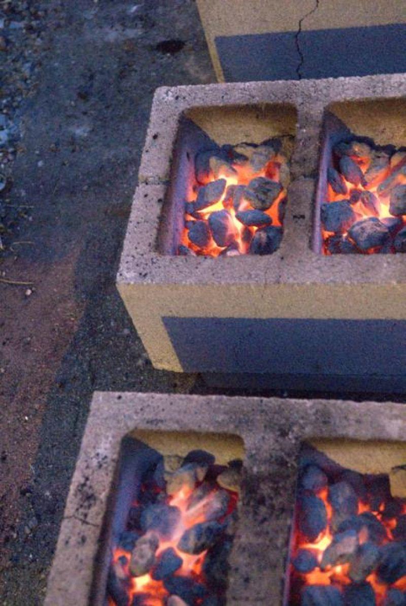 Cinderblock ovens used by Guerilla Cuisine
