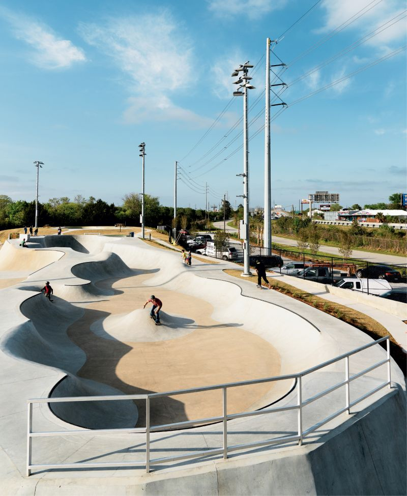 The popular, 200-foot  Snake Run leads into a nine-foot-deep pocket; the terrain—designed and built by Team Pain Skate Parks—has something for everybody, from pros to novices.