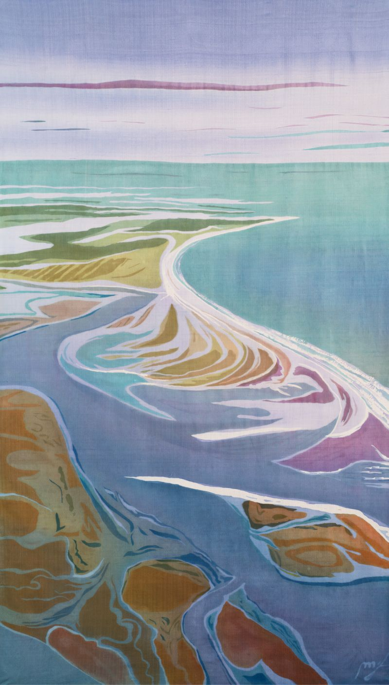 """Delete Apathy: On her blog, Delete Apathy, and in her artwork, Fraser uses her """"megaphone"""" to speak out on issues that concern her, including the threat of development on Kiawah's Captain Sam's Spit, pictured in her 2016 batik on silk Captain Sam's Spit  (57.25 x 34.5 inches); image courtesy of Mary Edna Fraser"""