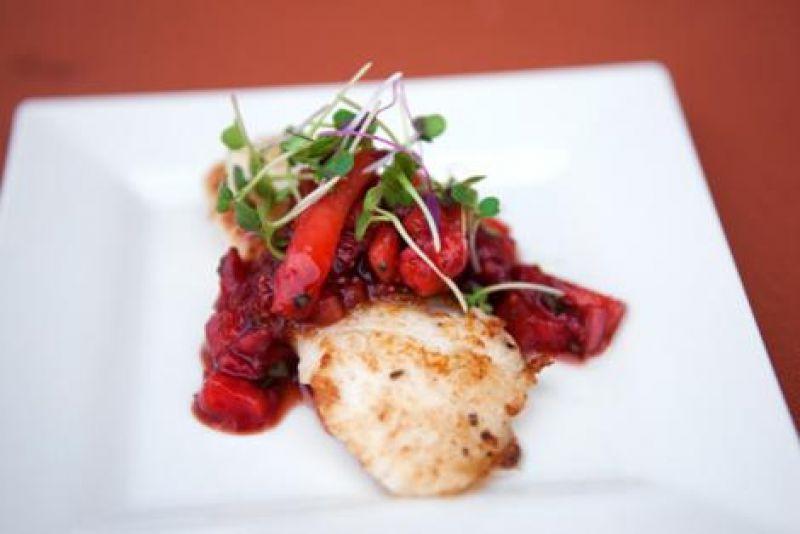 Pan-seared lion fish with balsamic strawberry relish from Fleet Landing