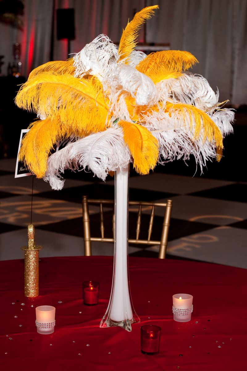 Parisian-inspired centerpieces graced the tables.